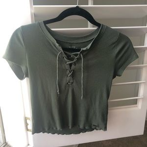 navy green top
